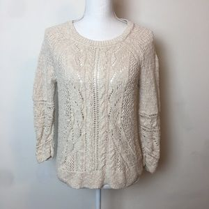 Lucky Brand Knitted Creme Sweater 3/4 Sleeves